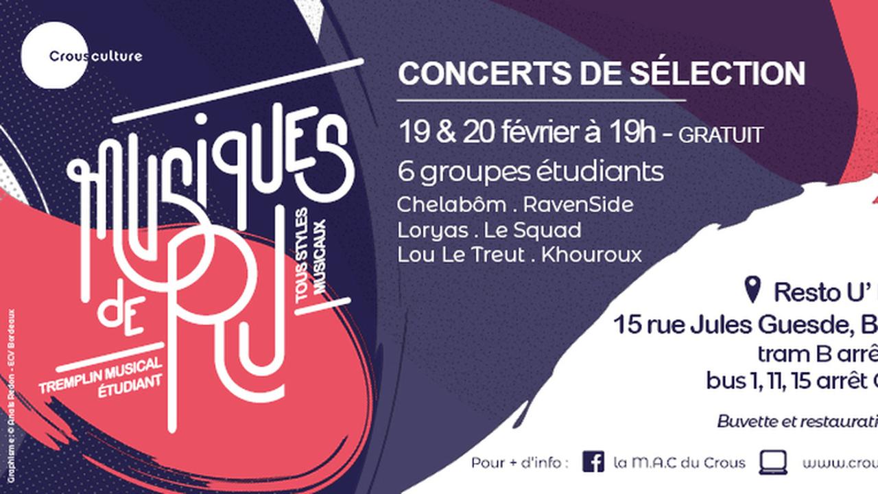 Concerts de sélections régionales - Tremplin Musiques de R.U.